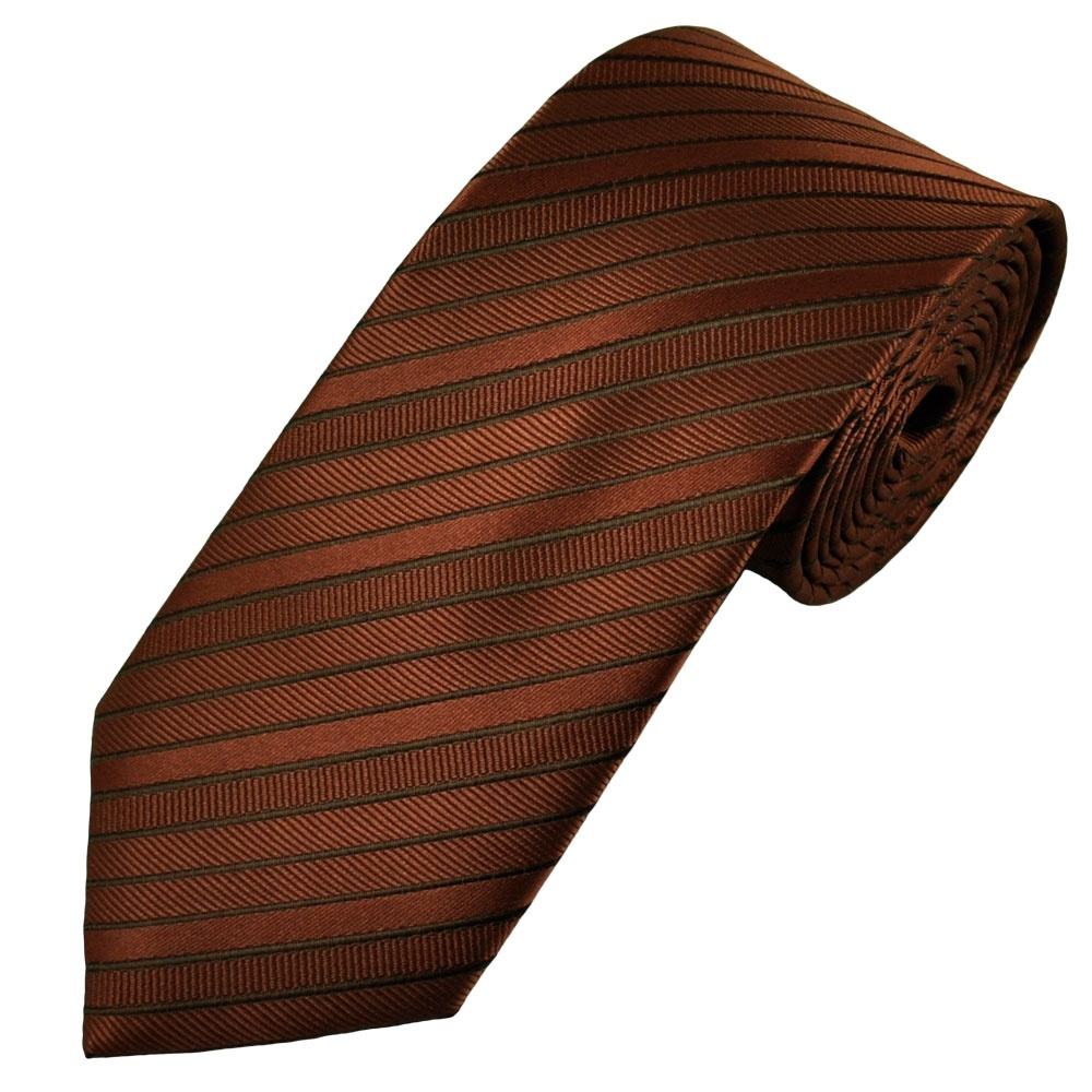 Copper & Brown Ribbed Stripe Patterned Men's Tie from Ties
