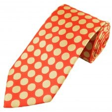 5a6b95312be8 Coral & Gold Beige Polka Dot Men's Extra Long Tie