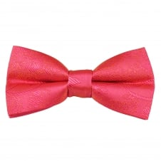 Coral Pink Paisley Patterned Boys Bow Tie