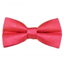 Coral Pink Paisley Patterned Men's Bow Tie