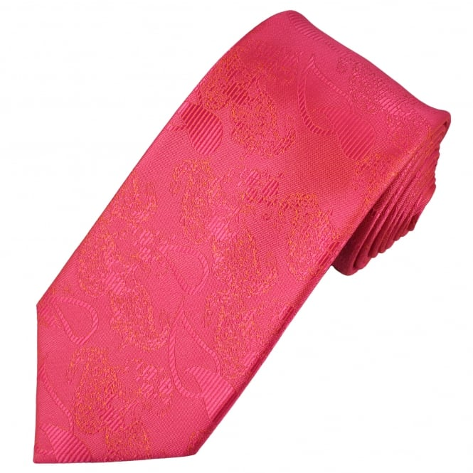 Coral Pink Paisley Patterned Men's Tie