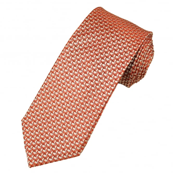 Coral Pink, Silver & Blue Patterned Luxury Men's Silk Tie