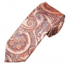 Coral Pink, Silver & Navy Blue Patterned Luxury Men's Silk Tie