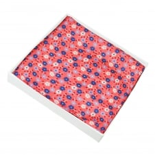 Coral, Royal Blue, Lilac & White Flower Patterned Silk Pocket Square Handkerchief