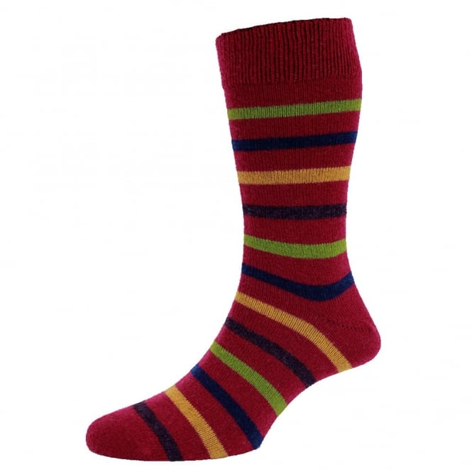 Cranberry & Multi Coloured Stripes Lambswool Men's Socks by HJ Hall