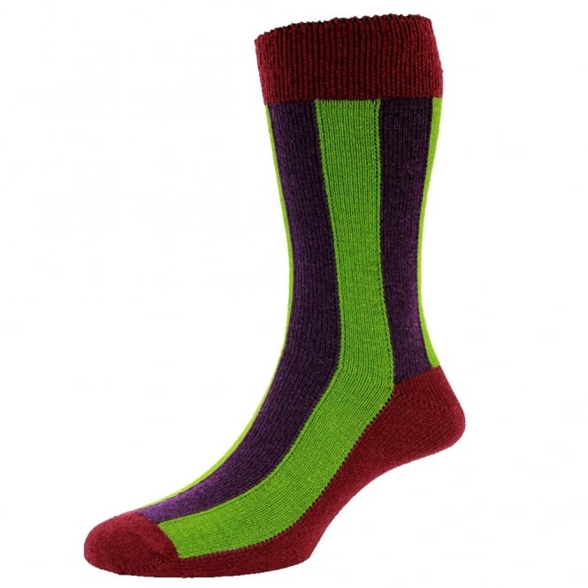 Cranberry with Purple & Lime Green Vertical Stripes Lambswool Men's Socks by HJ Hall