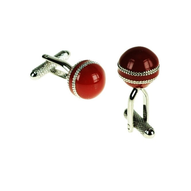 Cricket Ball Novelty Cufflinks - Red