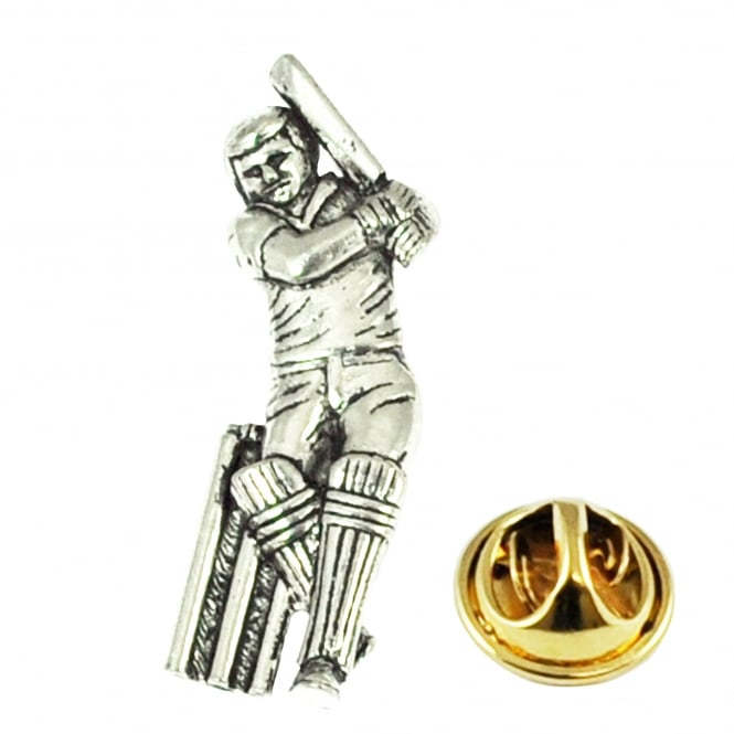 Cricket Player Pewter Lapel Pin Badge