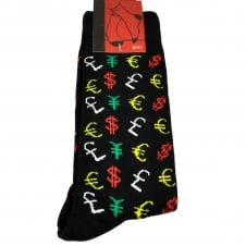 Currency Signs - Pound, Dollar, Euro, Yen Black Men's Novelty Socks