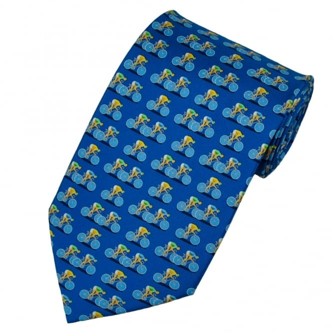 Cycling Blue Silk Novelty Tie