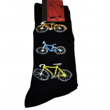 Cycling Themed Bicycles Black Men's Novelty Socks