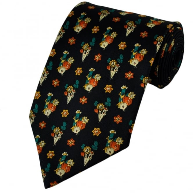 Dark Blue Funny Vegetables Silk Novelty Tie