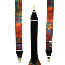 Dark Blue & Multi Coloured Flower Patterned Men's Trouser Braces