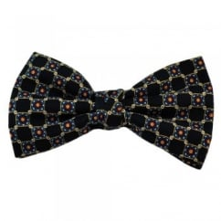 Dark Blue Patterned Bow Tie