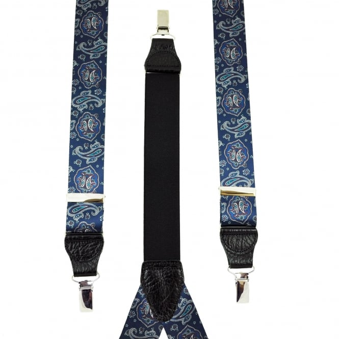 Dark Blue, Silver, Teal & Pink Paisley Patterned Men's Trouser Braces