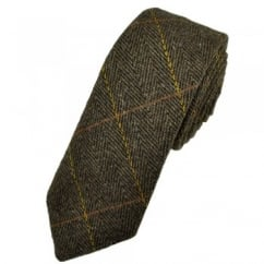 Dark Brown Checked Large Herringbone Tweed Wool Tie