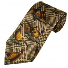 Dark Brown Pheasants Silk Country Tie