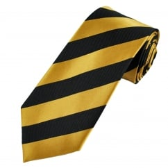 Dark Gold & Black Striped Silk Tie