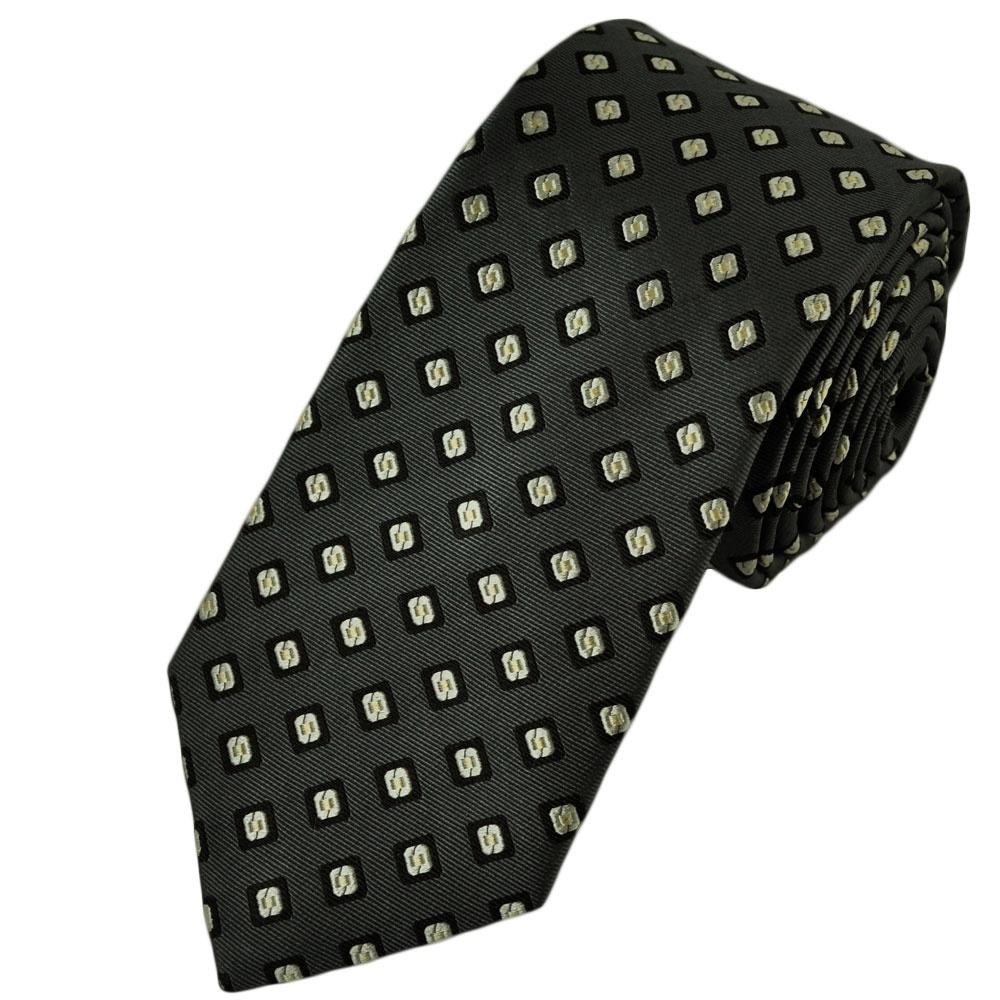 grey black ivory beige patterned silk tie from