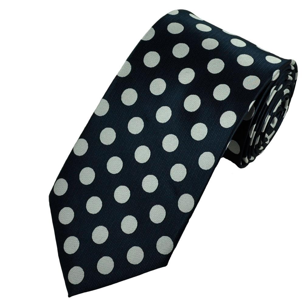 Dark Navy Blue & Silver White Polka Dot Tie from UK