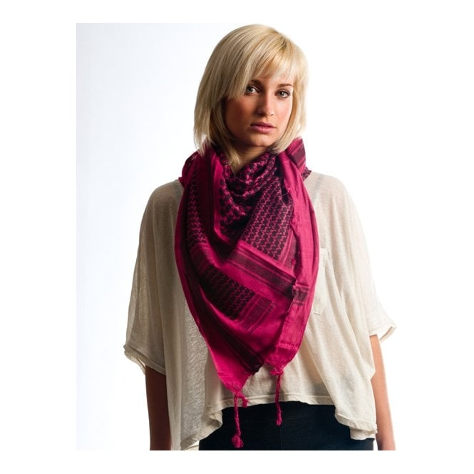 Dark Pink & Black Shemagh Scarf