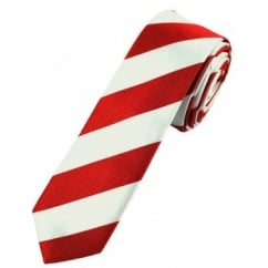 Dark Red & Silver White Striped Skinny Tie