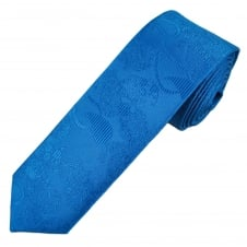 Dark Royal Blue Paisley Patterned Men's Skinny Tie