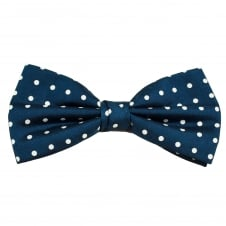 Dark Royal Blue & White Polka Dot Silk Bow Tie
