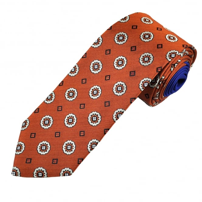 Deep Orange & White Floral Patterned Designer Tie by Profuomo