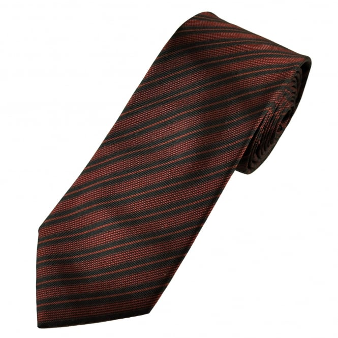 Deep Red & Black Striped Silk Tie