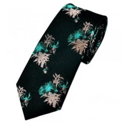 Deep Teal Patterned Designer Silk Tie Limited Edition By Ashley Victoria