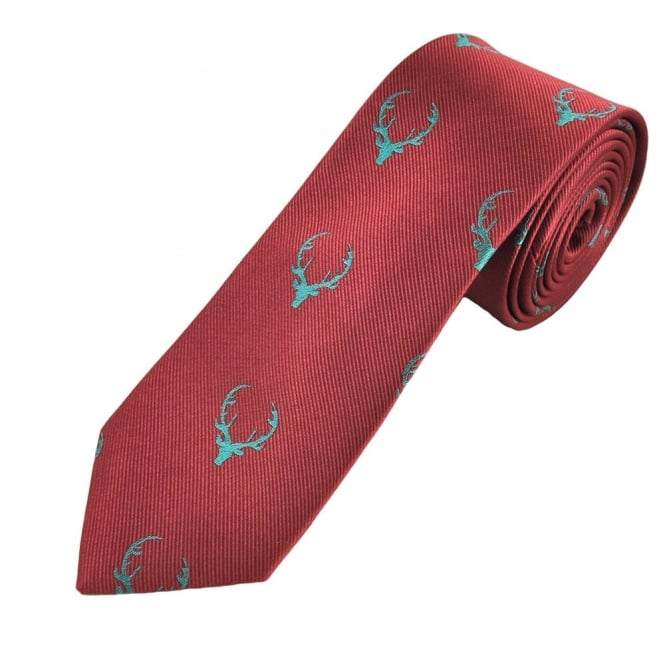 Deer Antlers Cerise Pink Silk Narrow Country Tie