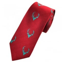 Deer Antlers Cranberry Red Luxury Silk Narrow Country Tie