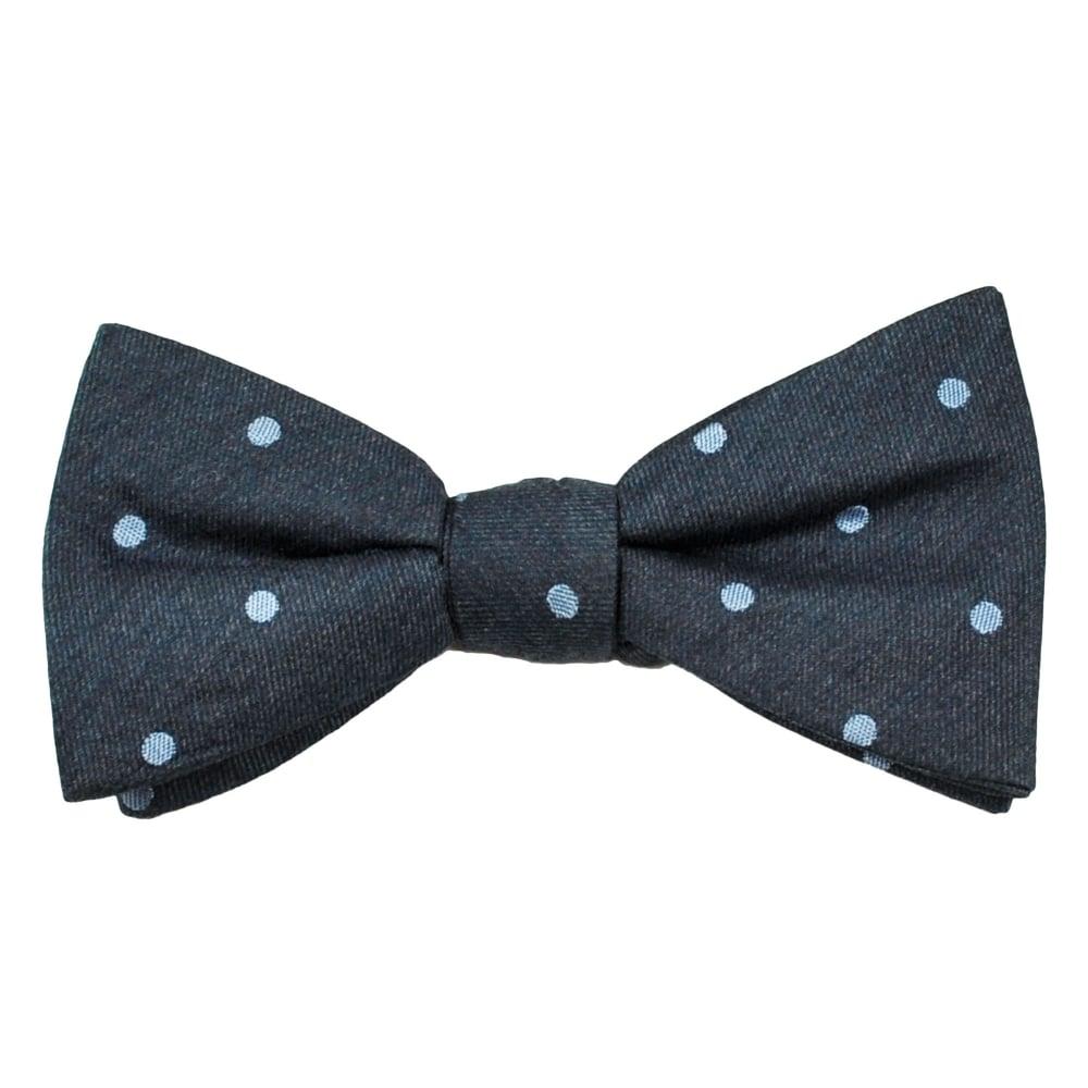 denim blue light blue polka dot silk bow tie from ties