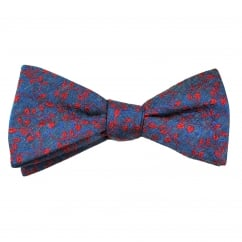 Denim Blue & Red Leaves Patterned Silk Mix Bow Tie