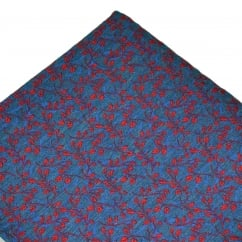 Denim Blue & Red Leaves Patterned Silk Mix Pocket Square Handkerchief