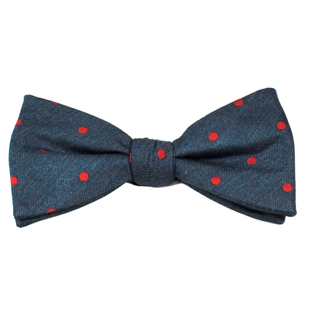 denim blue polka dot silk bow tie from ties planet uk