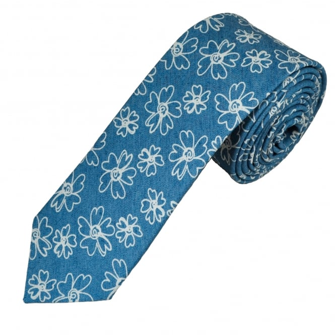 denim blue and white flower patterned cotton men