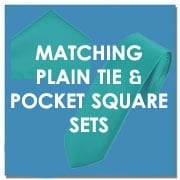 Matching Plain Tie and Pocket Square Sets