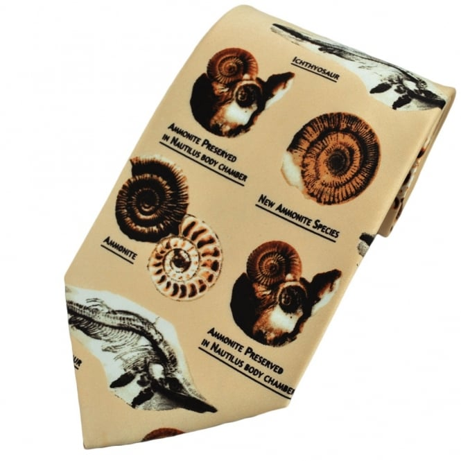 dinosaur and ammonite fossils novelty tie