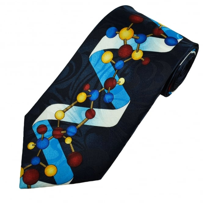 DNA Helix Navy Blue Novelty Tie