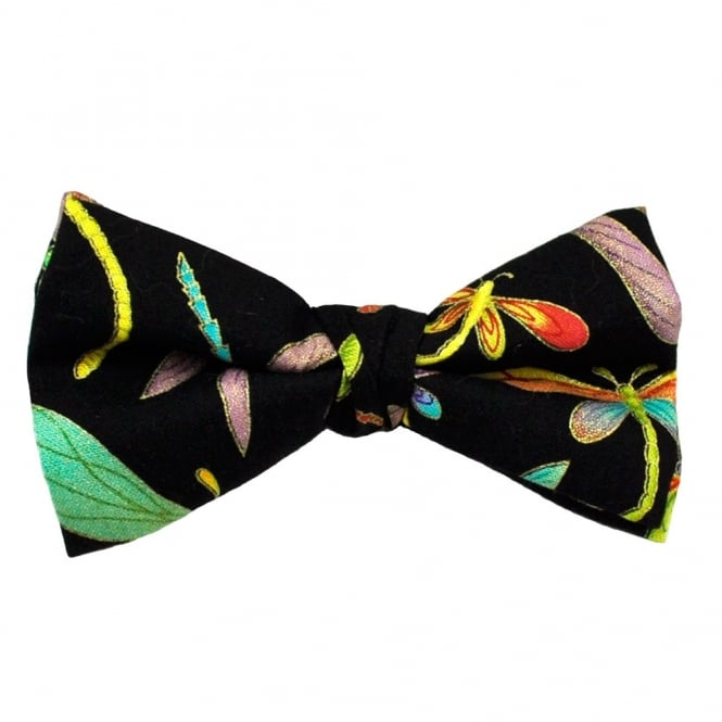 Dragonfly Black Novelty Bow Tie