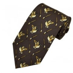 Duck Hunting Brown & Green Silk Novelty Tie