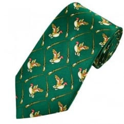 Duck Hunting Green Silk Novelty Tie