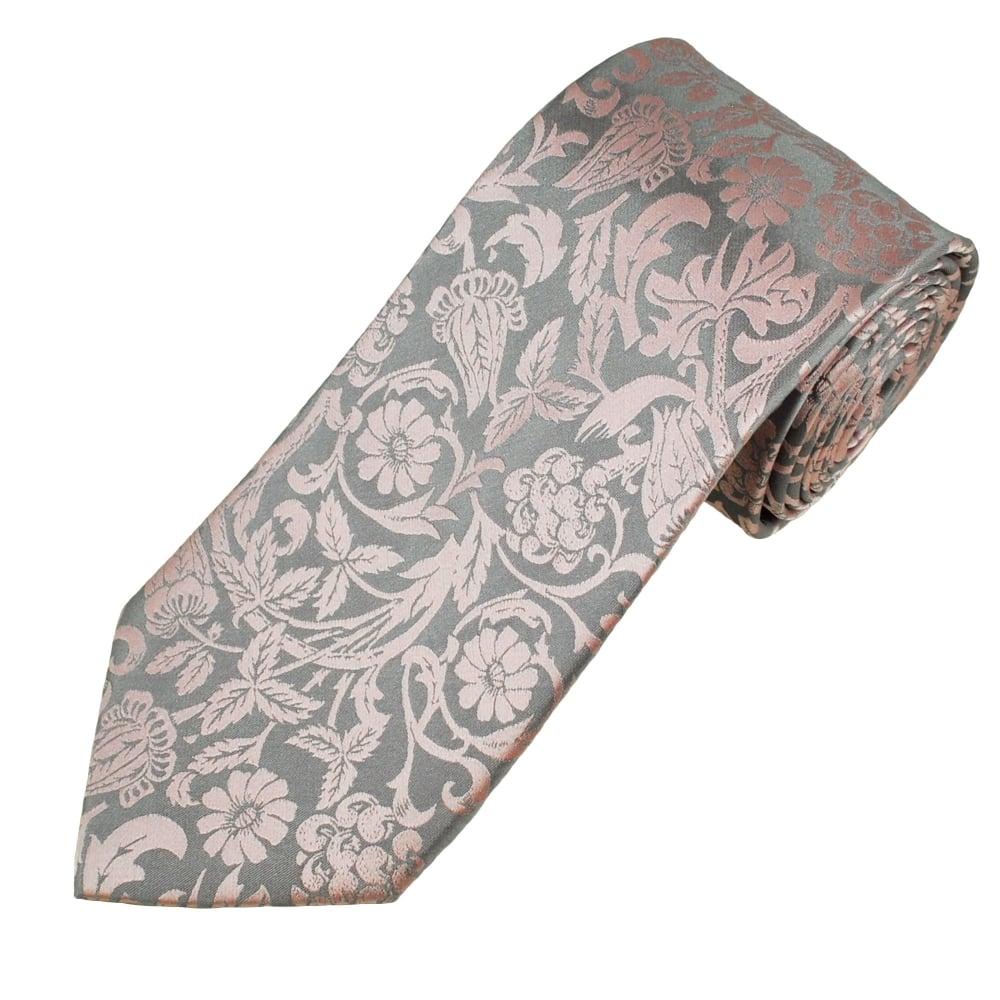 Dusky Pink Floral Patterned Men S Silk Tie From Ties Planet Uk