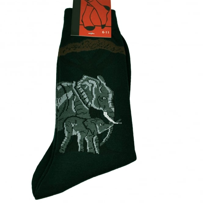 Elephant & Calf Petrol Blue Men's Novelty Socks
