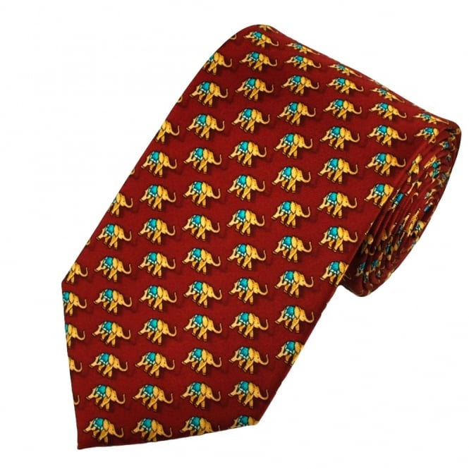 Elephants Red Silk Novelty Tie