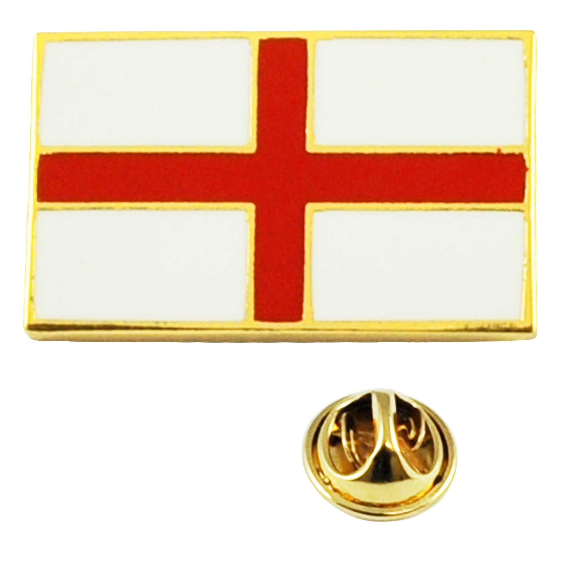 Pack of 3 England St George Cross Waving World Flag Lapel Pin Badges; Three Patriotic Country Hat Lapel Pins
