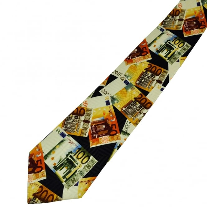Euro Notes Travel Money Silk Novelty Tie