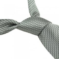 Extra Long 50 Shades of Grey Tie - Van Buck Platinum Silk